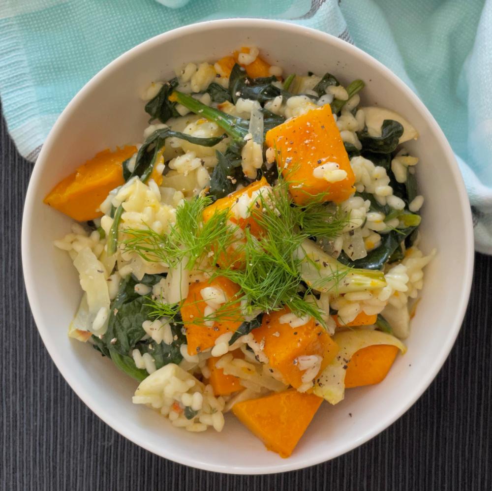 Pumpkin Fennel Spinach Risotto   I Spy Plum Pie