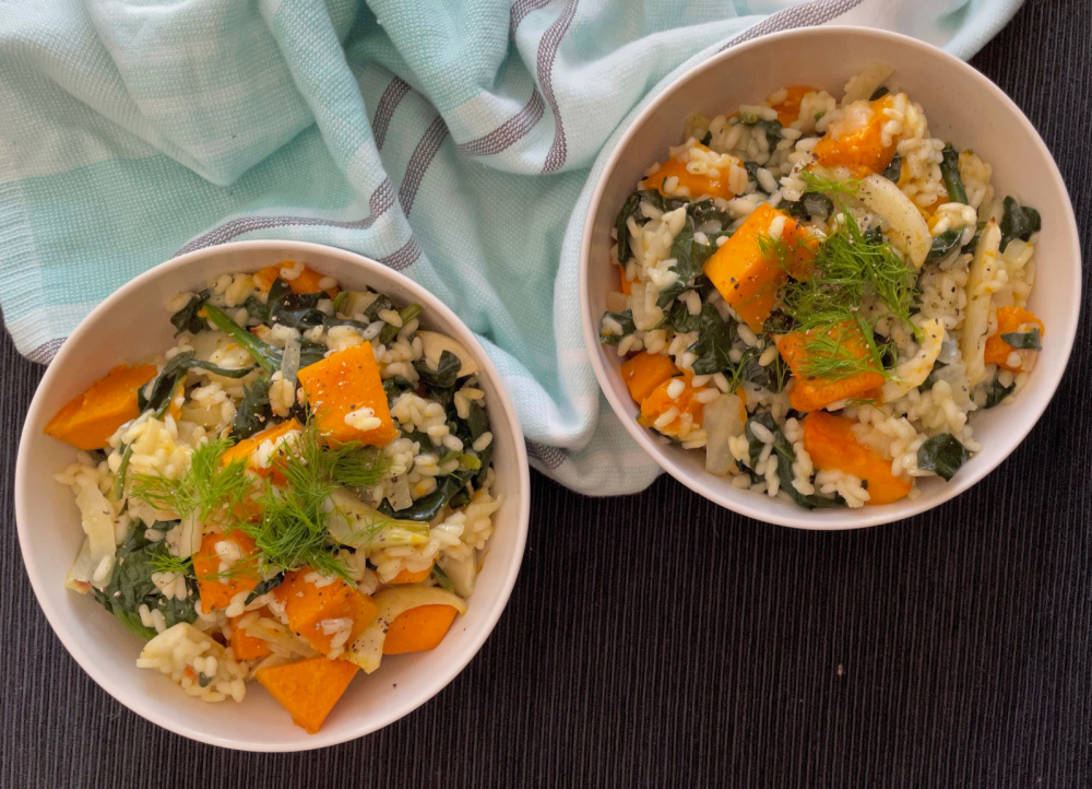Pumpkin Fennel and Spinach Risotto   I Spy Plum Pie
