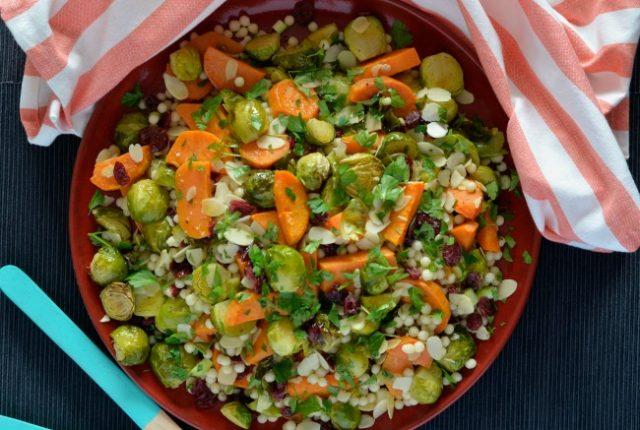 Brussels Sprout and Sweet Potato Israeli Couscous Salad | I Spy Plum Pie