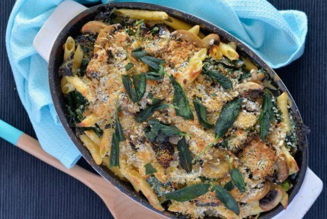 Mushroom Sage and Kale Pasta Bake | I Spy Plum Pie