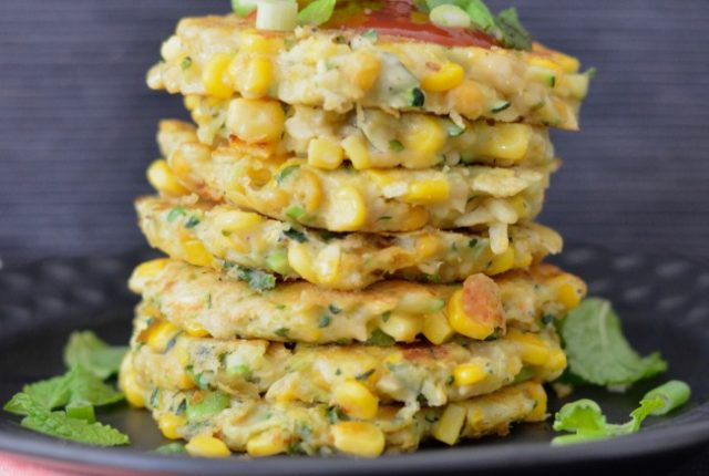 Corn, Zucchini and Chickpea Fritters | I Spy Plum Pie