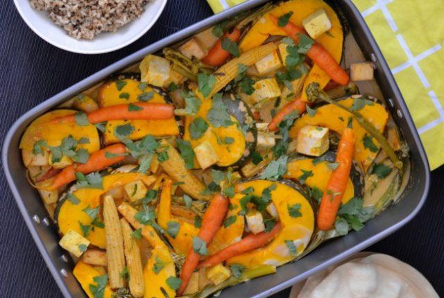 Pumpkin Tofu Curry Tray Bake | I Spy Plum Pie
