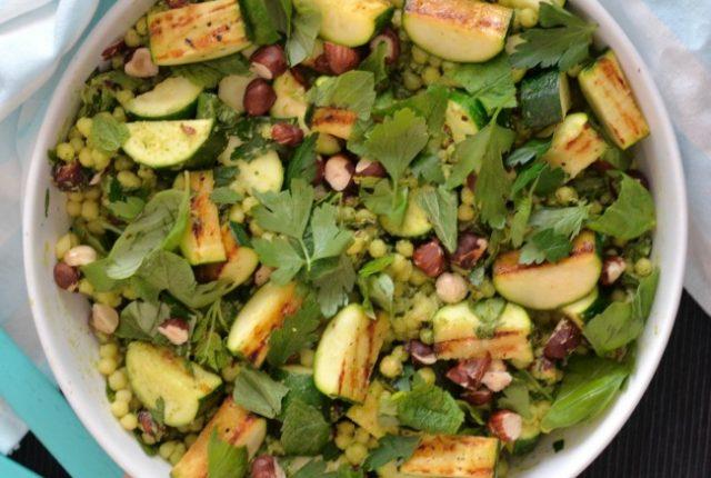 Charred Zucchini Israeli Couscous Salad | I Spy Plum Pie
