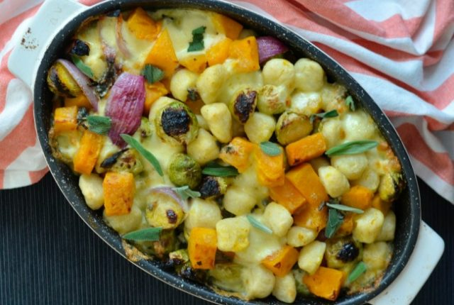 Roast Pumpkin and Brussel Sprouts Baked Gnocchi | I Spy Plum Pie