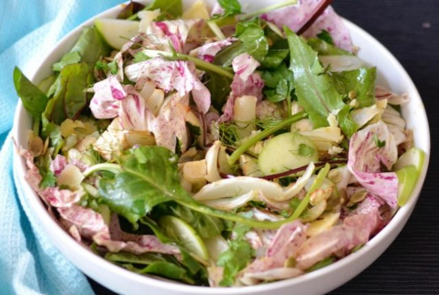 Roasted Fennel Apple and Greens Salad | I Spy Plum Pie