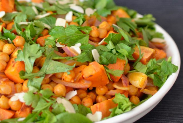 Sweet Potato and Harissa Chickpea Salad | I Spy Plum Pie